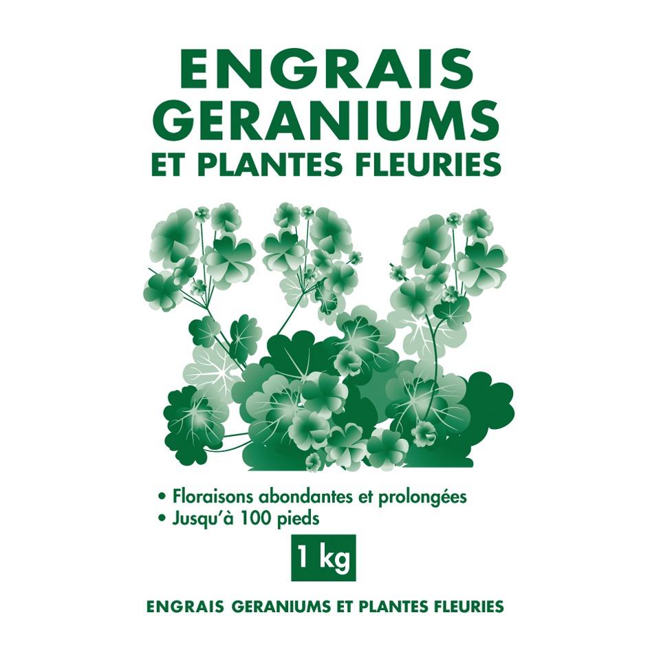 Engrais géraniums et plantes fleuries granulés Florendi - Sac 1 kg