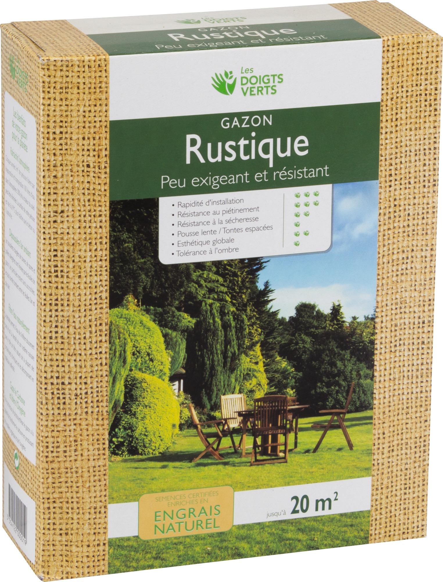 Gazon rustique enrichi Les doigts verts - 0,5 kg