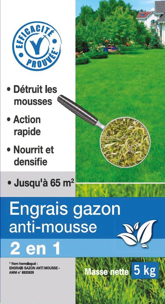 Engrais gazon anti-mousse Florendi - 5 kg