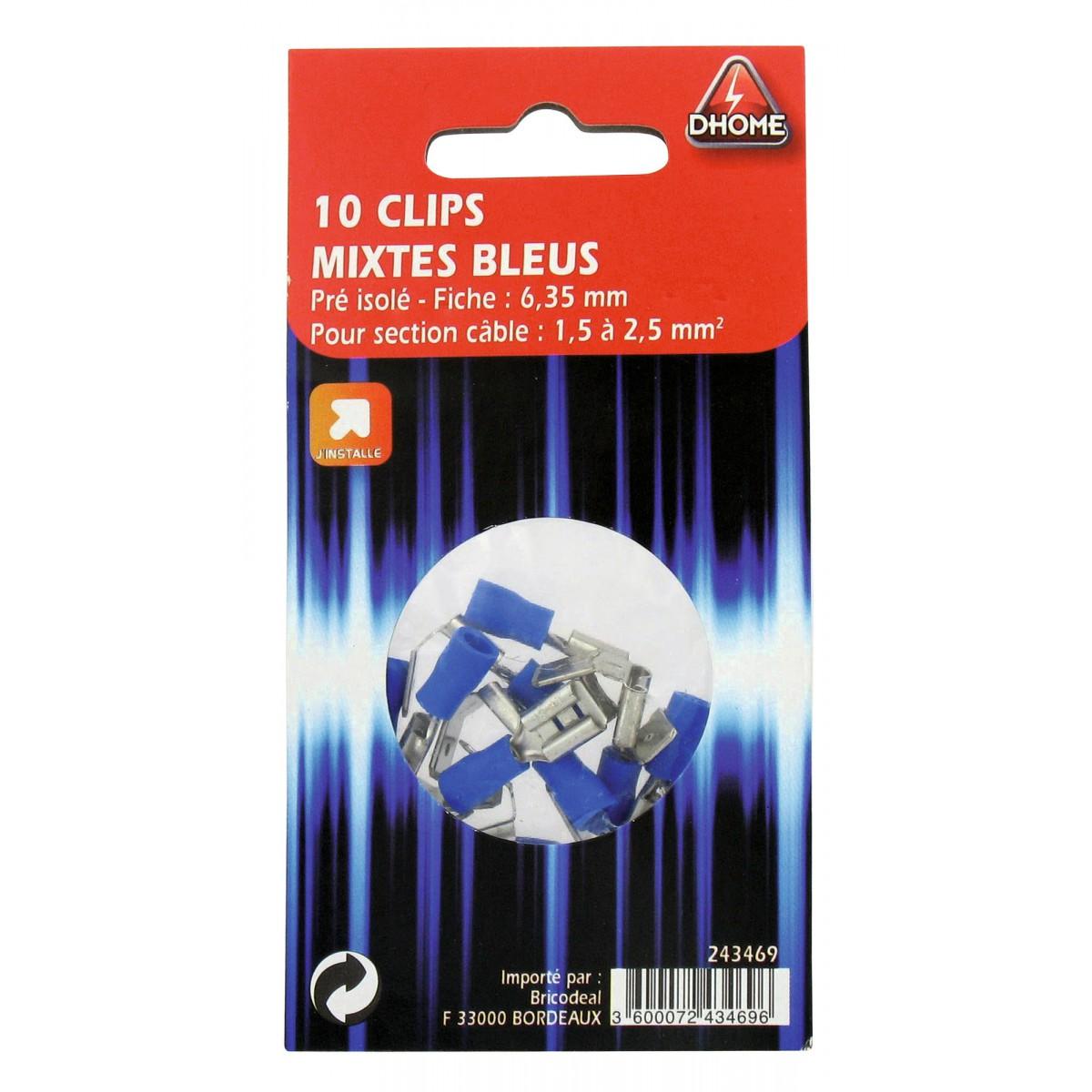 Clip mixte pré isolé Dhome - Bleue - Diamètre 6,35 mm - Vendu par 10