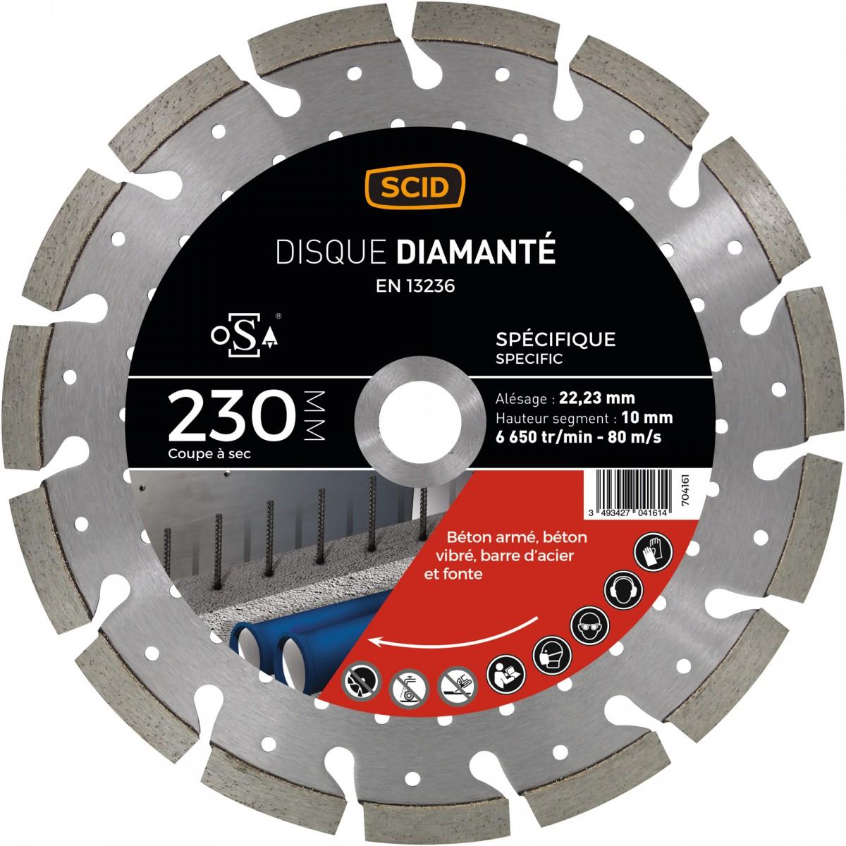 Disque diamanté ventillé béton métal SCID - Diamètre 230 mm