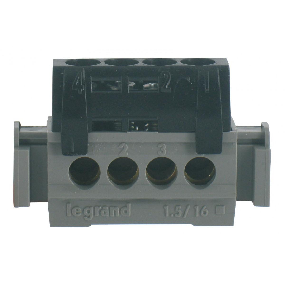 Bornier 1 fonction Legrand - 4 trous - Noir
