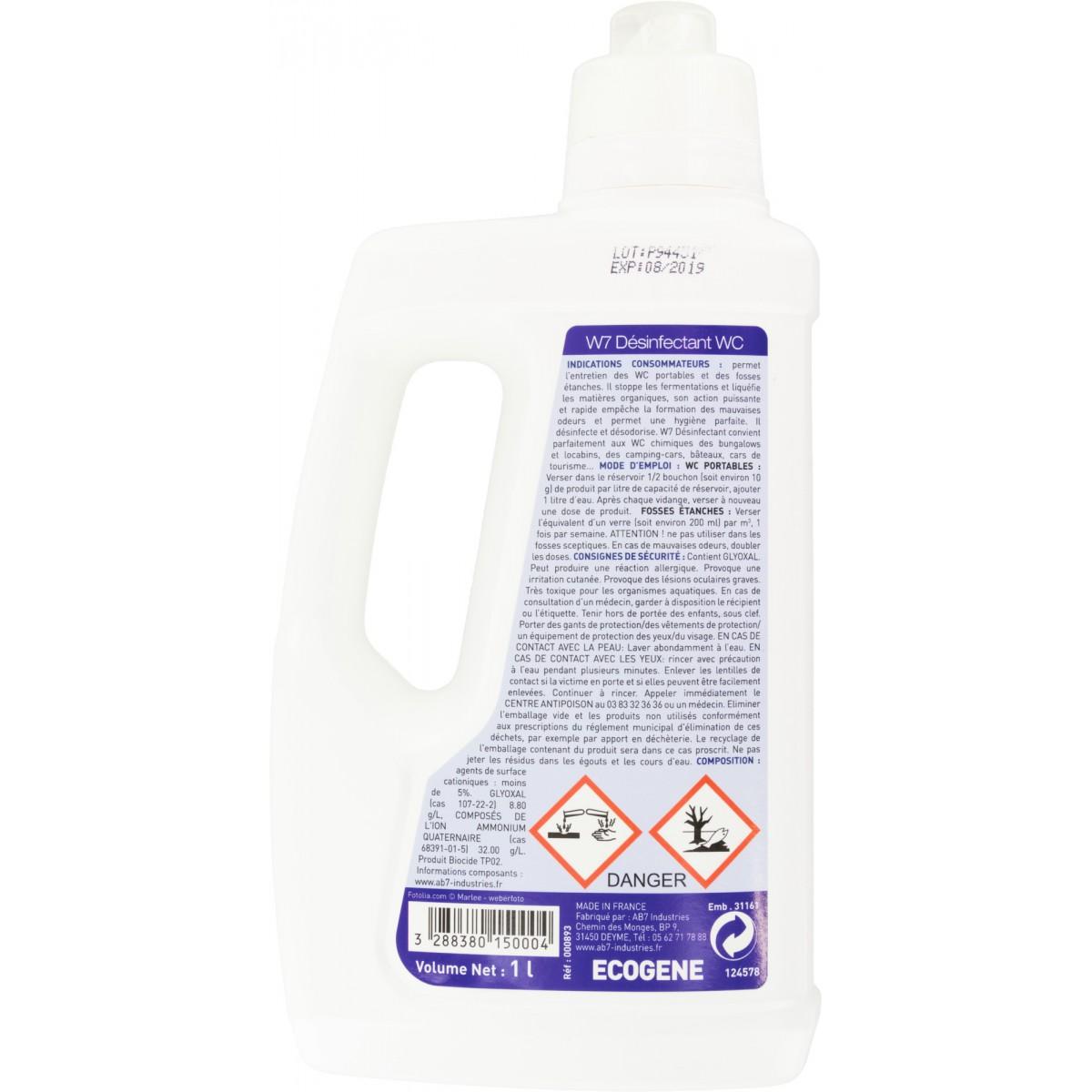 Liquéfiant WC chimique Ecogène - Flacon 1 l