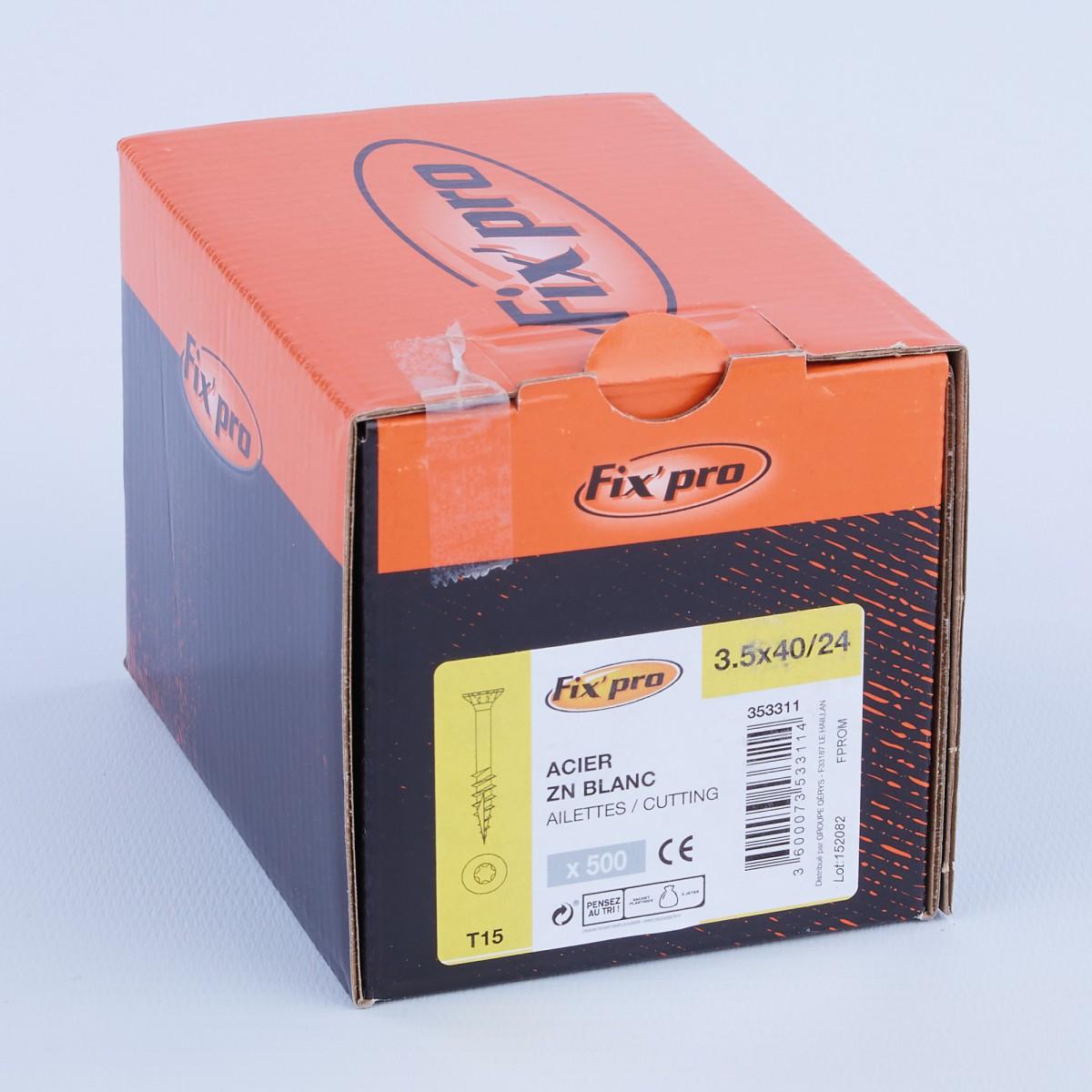 Vis à bois tête fraisée TX - 3,5x40/24 - 500pces - Fixpro
