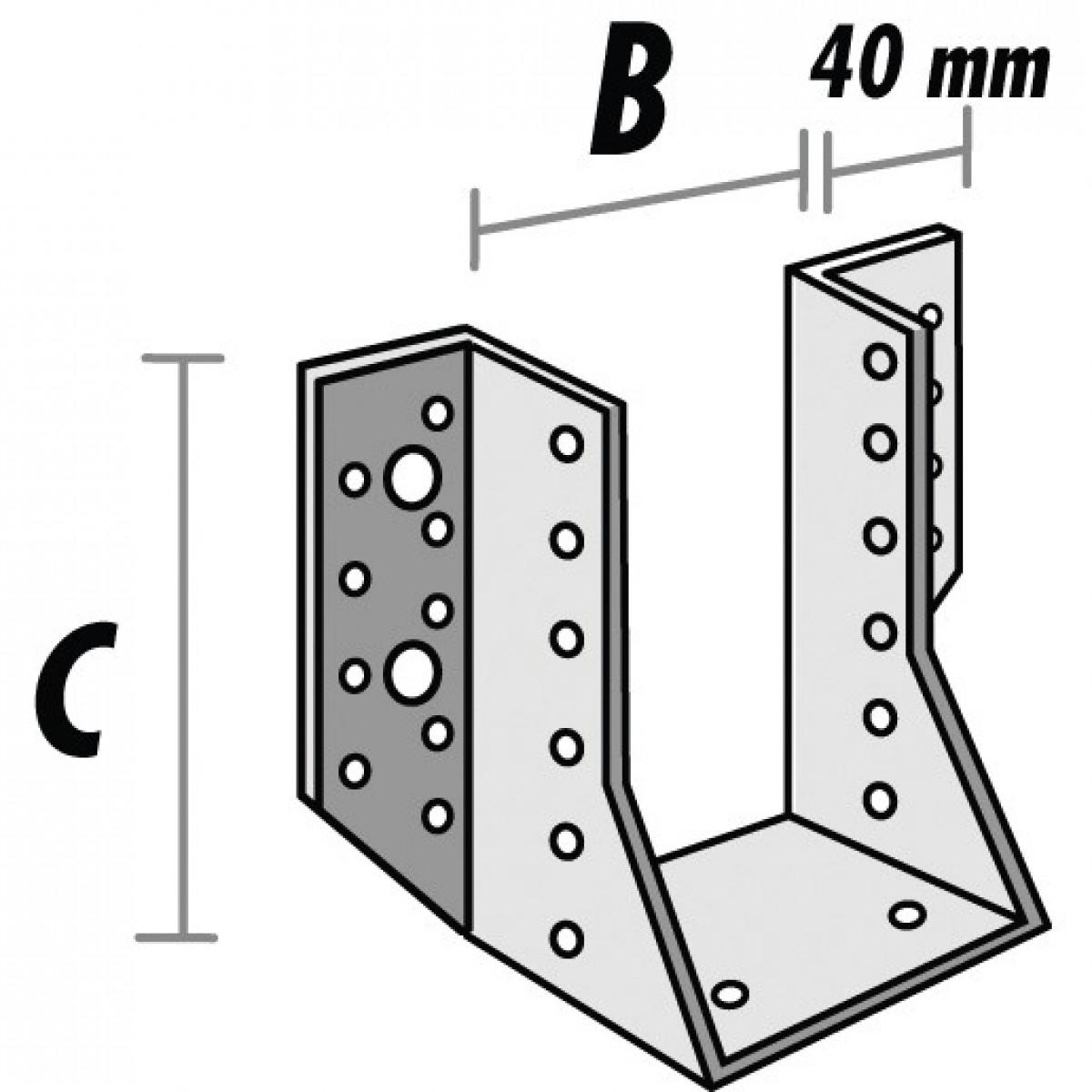 Sabot de solive aile extérieure - 143 mm x 34 mm - Alberts