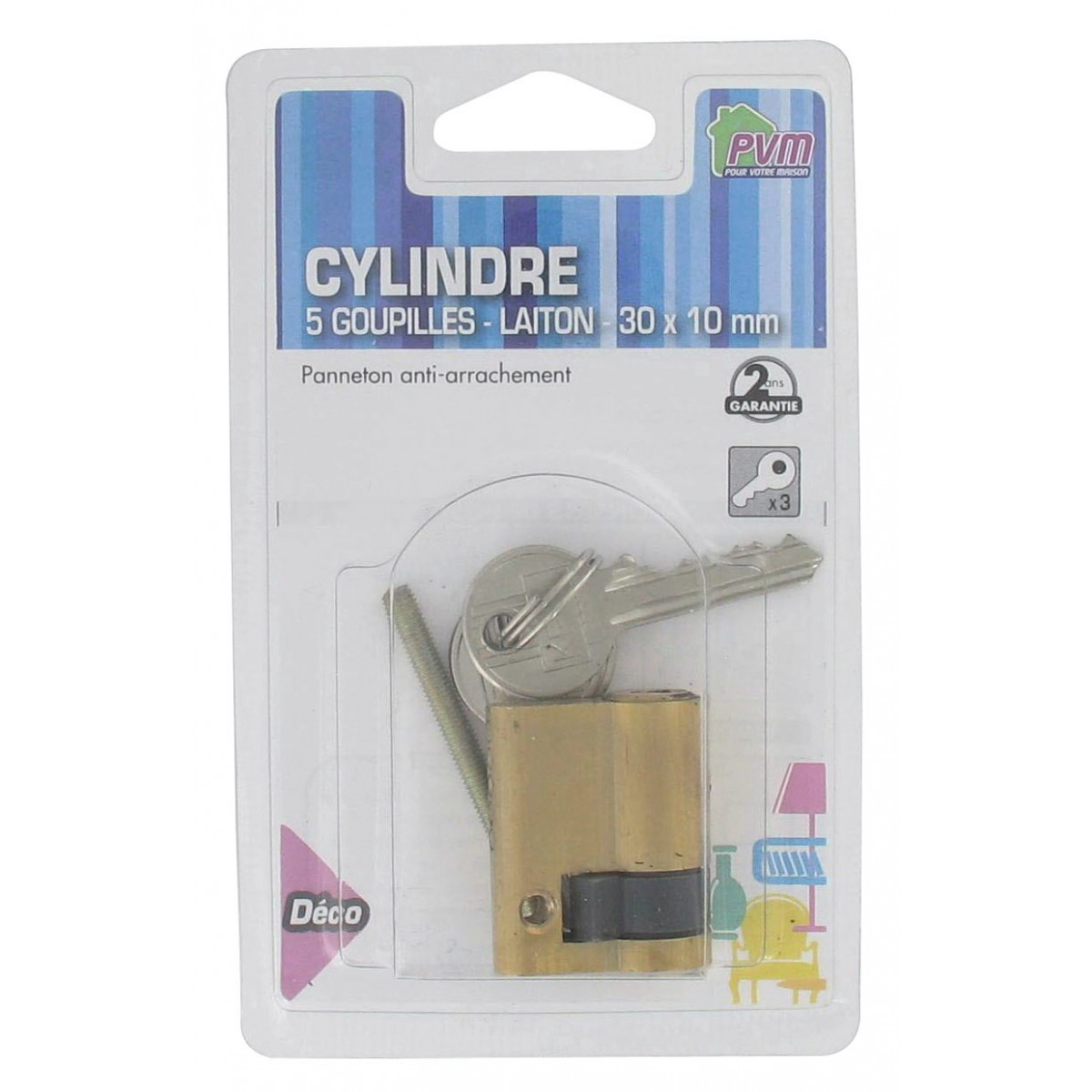 Cylindre simple laiton PVM - Dimensions 30 x 10 mm