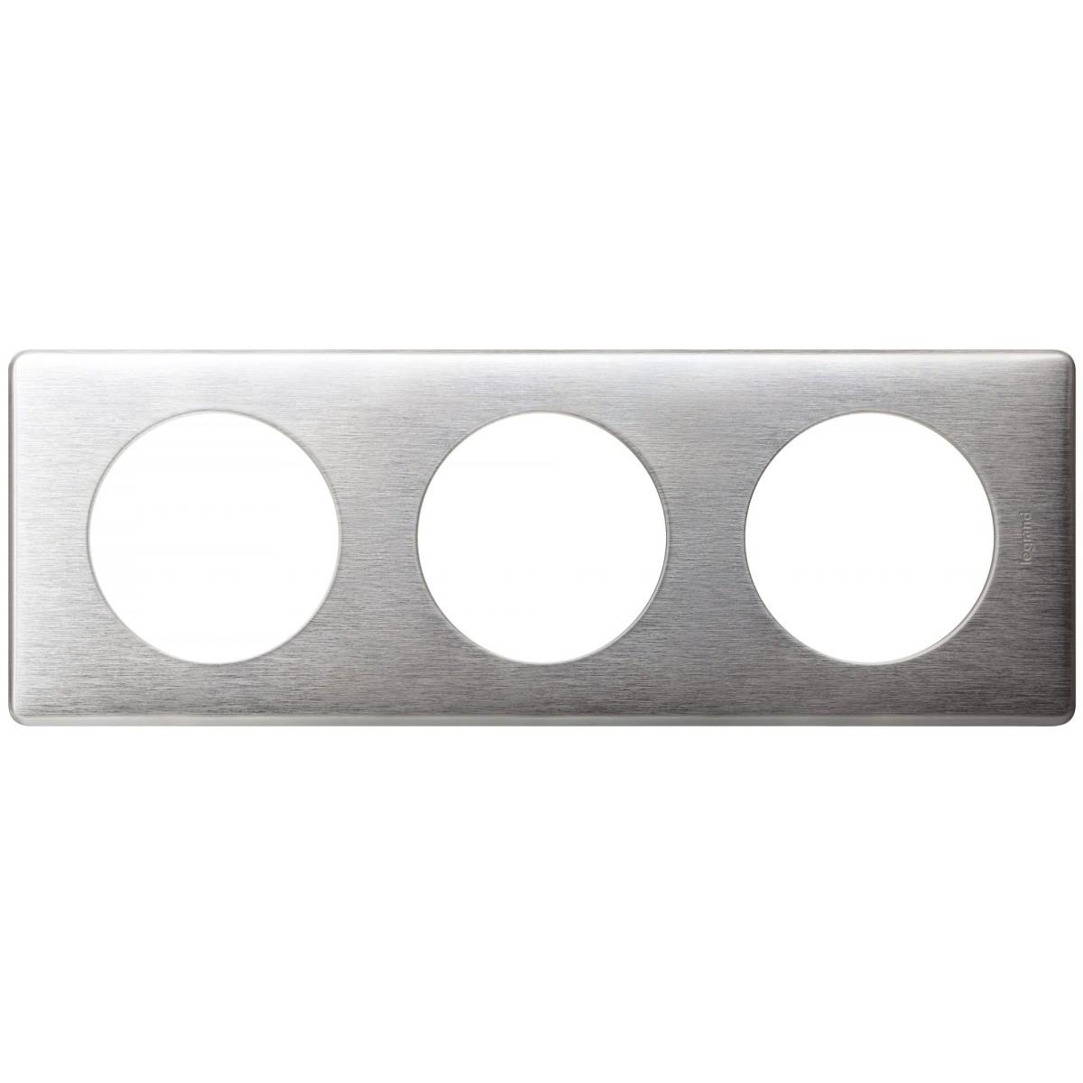 Plaque 3 postes Legrand - Céliane - Métal - Aluminium