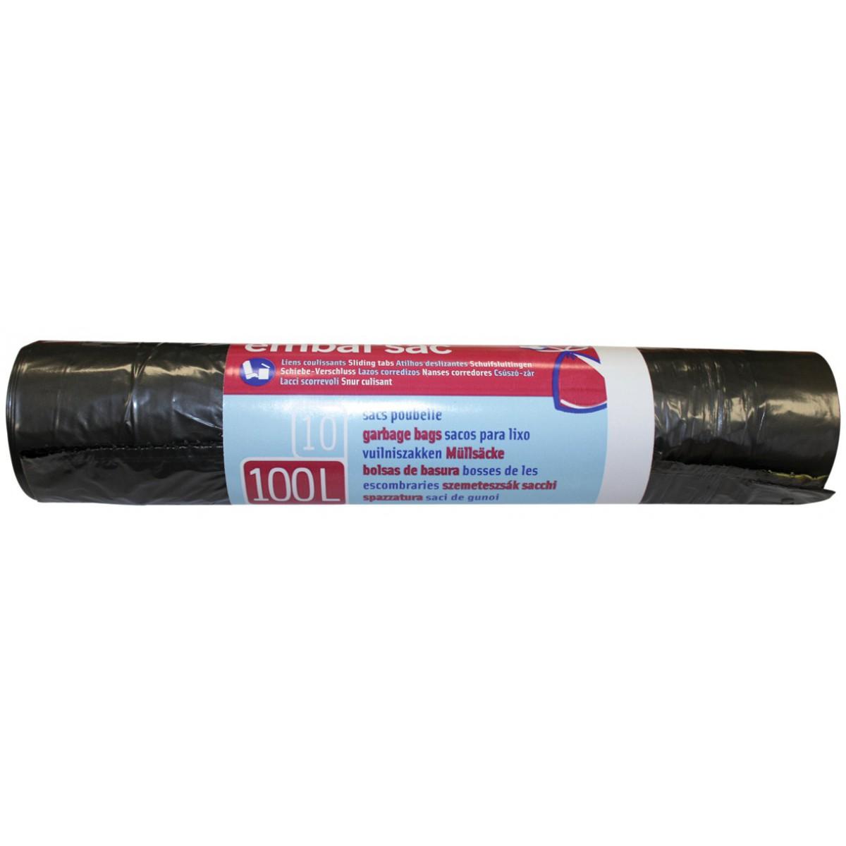 Sac poubelle à lien coulissant Embal'Sac - 100 l - Hauteur 90 cm - Epaisseur 24 microns - 10 sacs