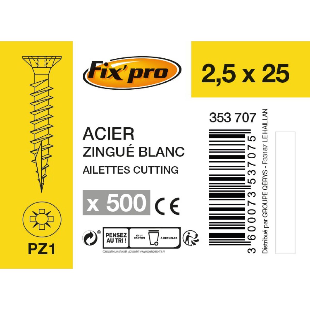 Vis à bois tête fraisée PZ - 2,5x25 - 500pces - Fixpro