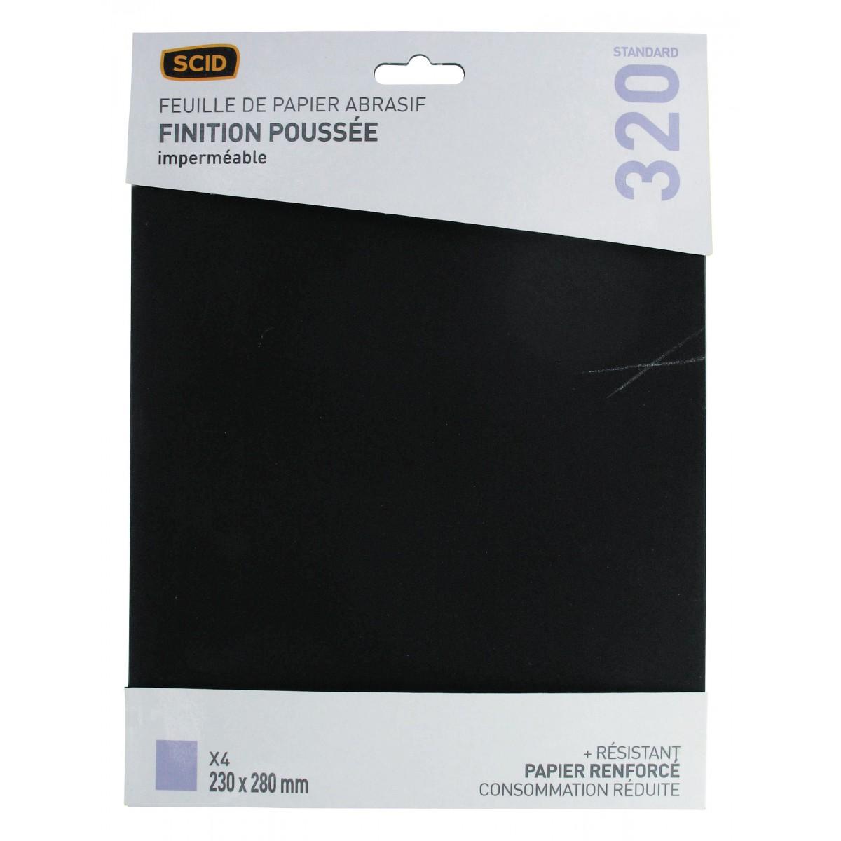 Papier imperméable 230 x 280 mm SCID - Grain 320 - Vendu par 4