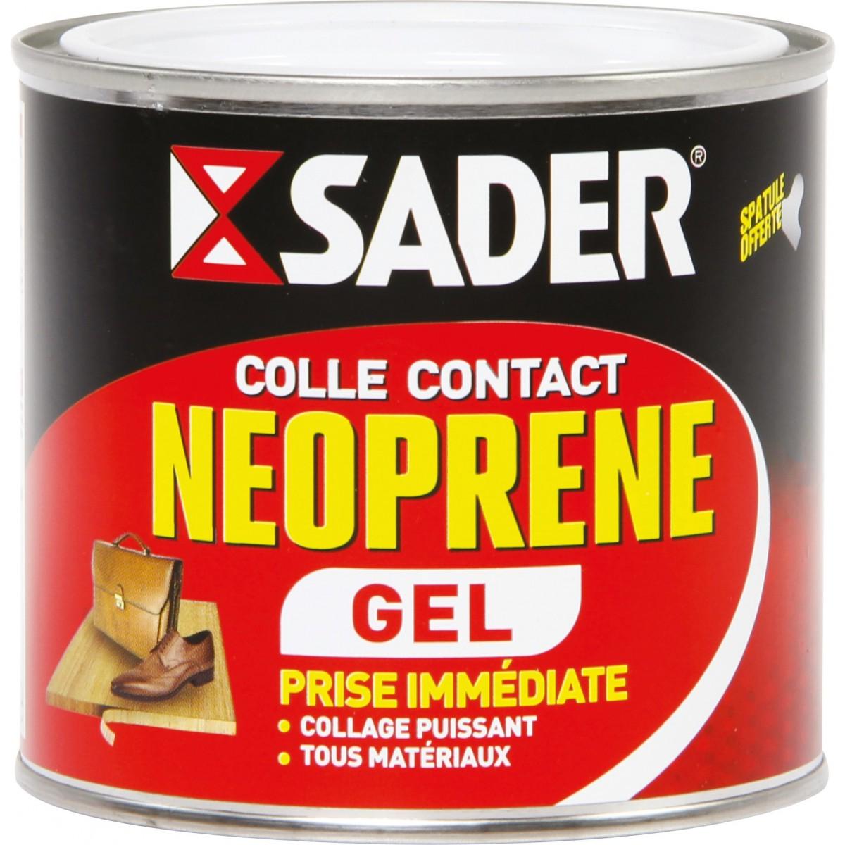 Colle néoprène contact gel Sader - Boîte métal avec spatule 500 ml