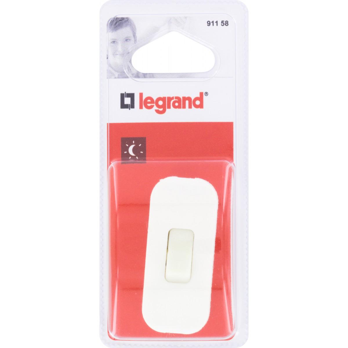 Interrupteur de fil souple 2A touche luminescente Legrand - Blanc