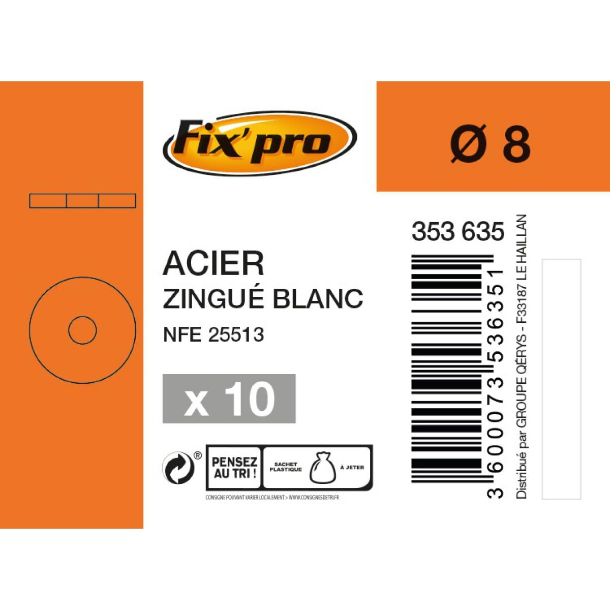 Rondelle carrossier acier zingué - Ø8mm - 10pces - Fixpro