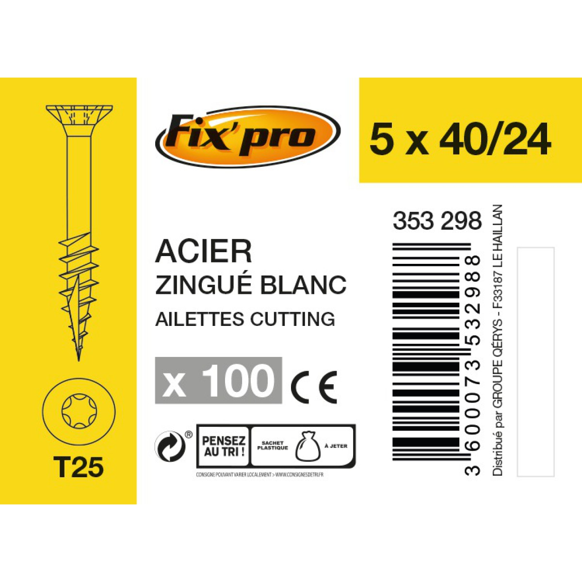 Vis à bois tête fraisée TX - 5x40/24 - 100pces - Fixpro