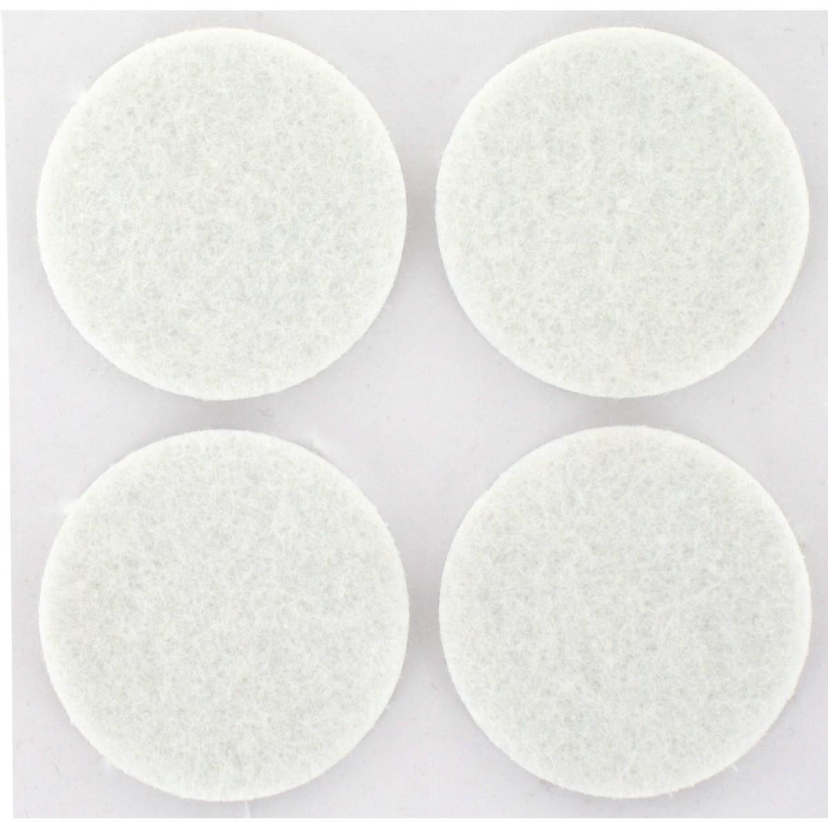 Patin feutre blanc adhésif PVM - Diamètre 35 mm - Vendu par 4