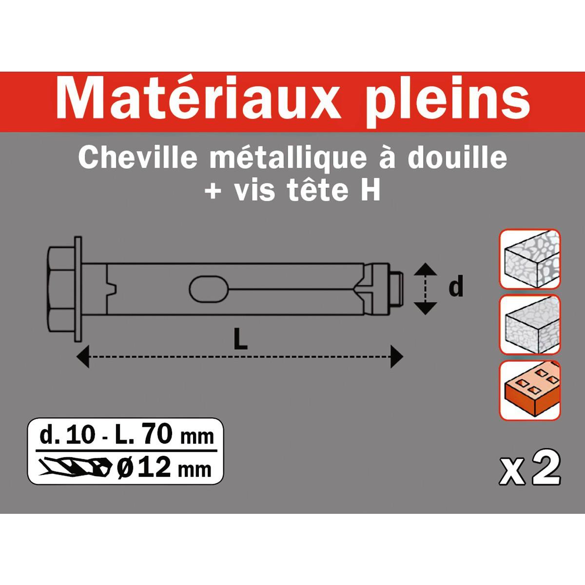Cheville métallique à douille Fix'Pro - Diamètre 12 mm - Charge utile 514 kg - Vendu par 2