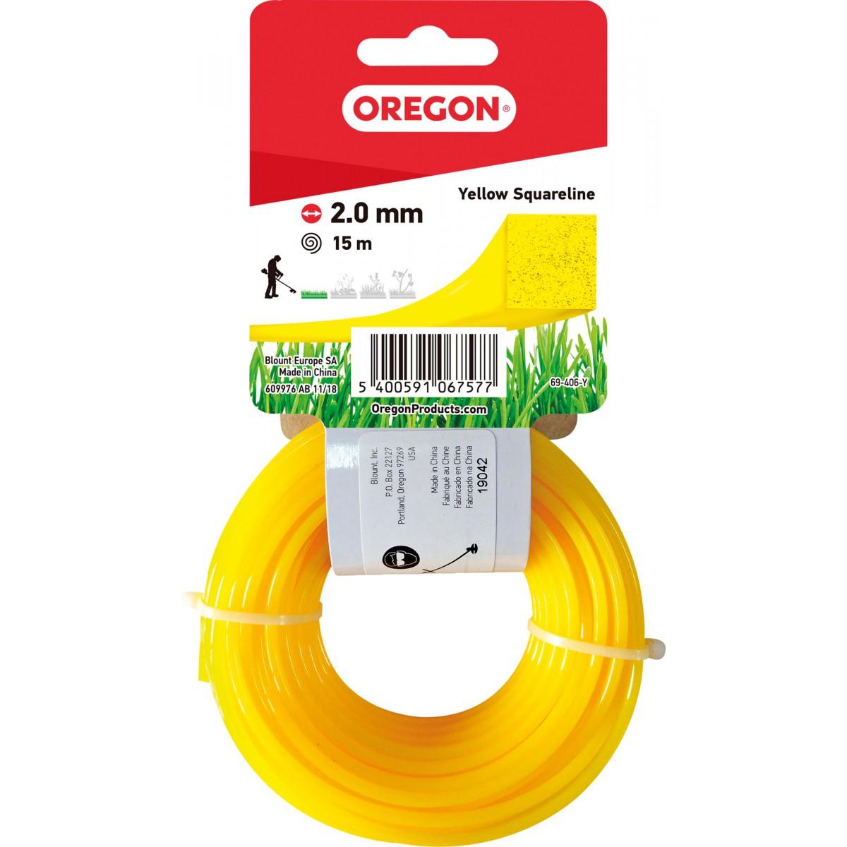 Fil carré pour débroussaillage nylon Oregon - Longueur 15 m - Diamètre 2 mm