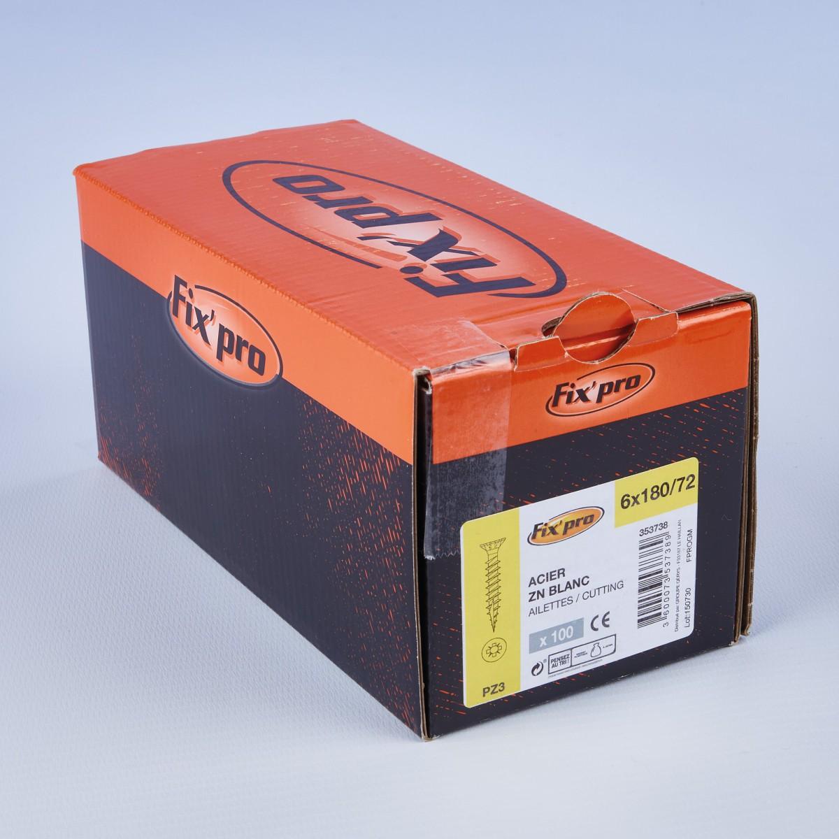 Vis à bois tête fraisée PZ - 6x180/75 - 100pces - Fixpro