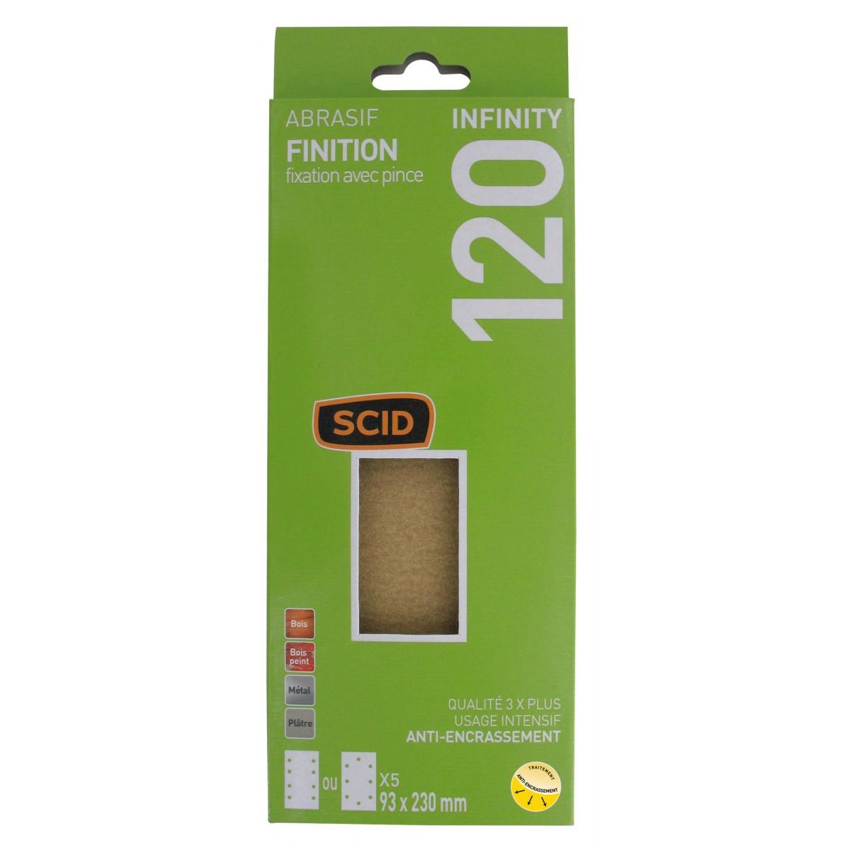 Patin fixation avec pince 93 x 230 mm SCID - Grain 120 - Vendu par 5
