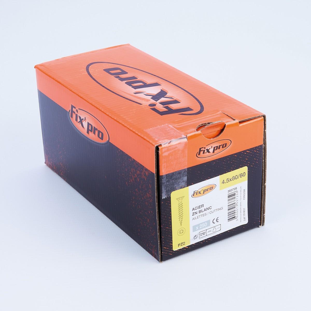 Vis à bois tête fraisée PZ - 4,5x80 - 250pces - Fixpro