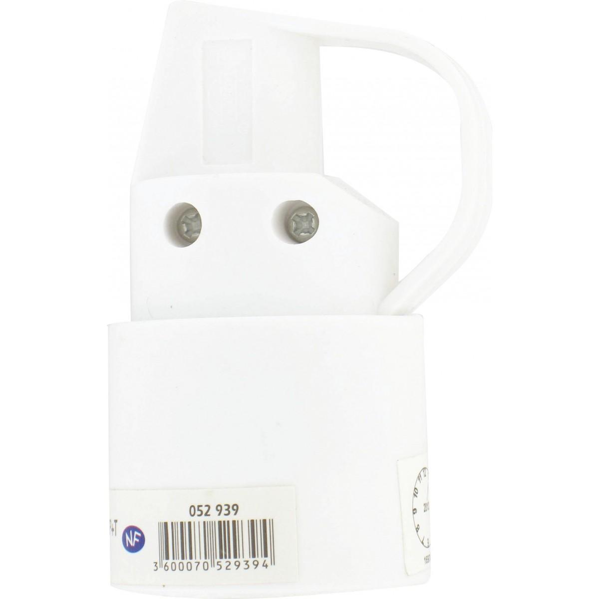 Fiche plastique 2P+T-10/16 A Dhome - Femelle - Blanc - Avec anneau