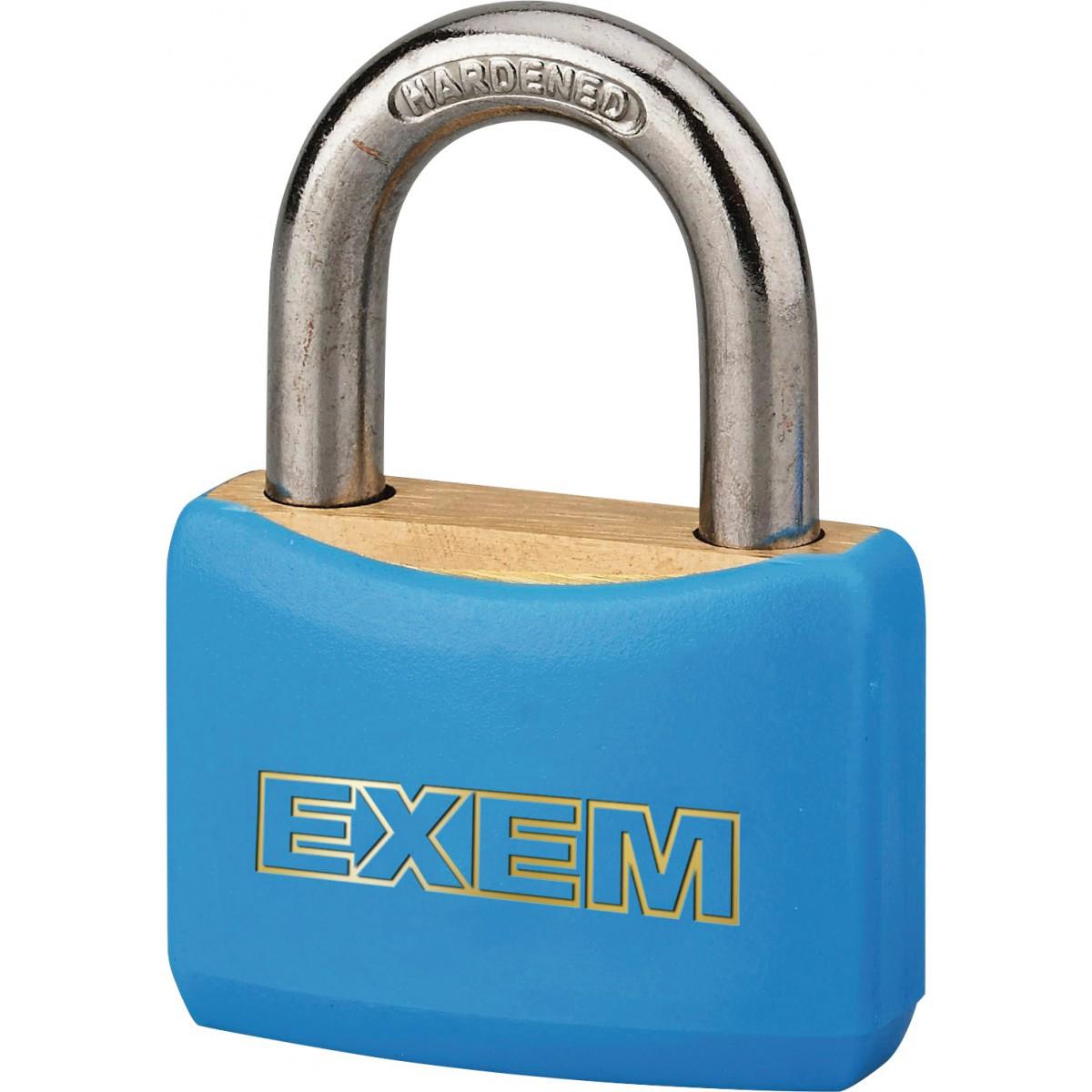 Cadenas laiton gainé à clés - Exem - Largeur 30 mm - Bleu