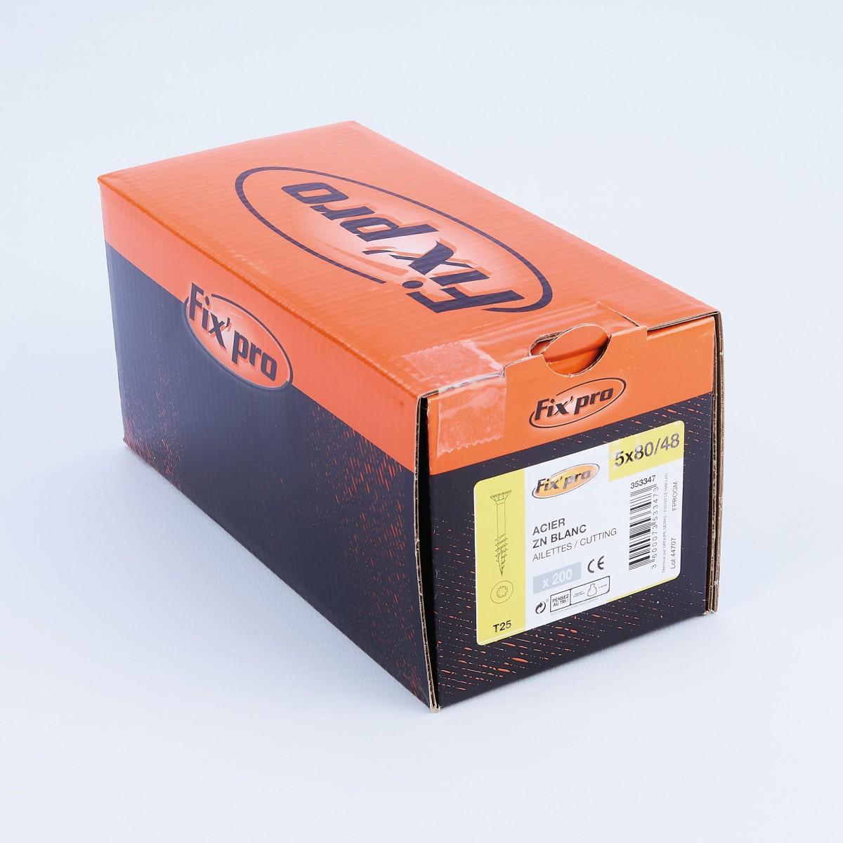 Vis à bois tête fraisée TX - 5x80/48 - 200pces - Fixpro