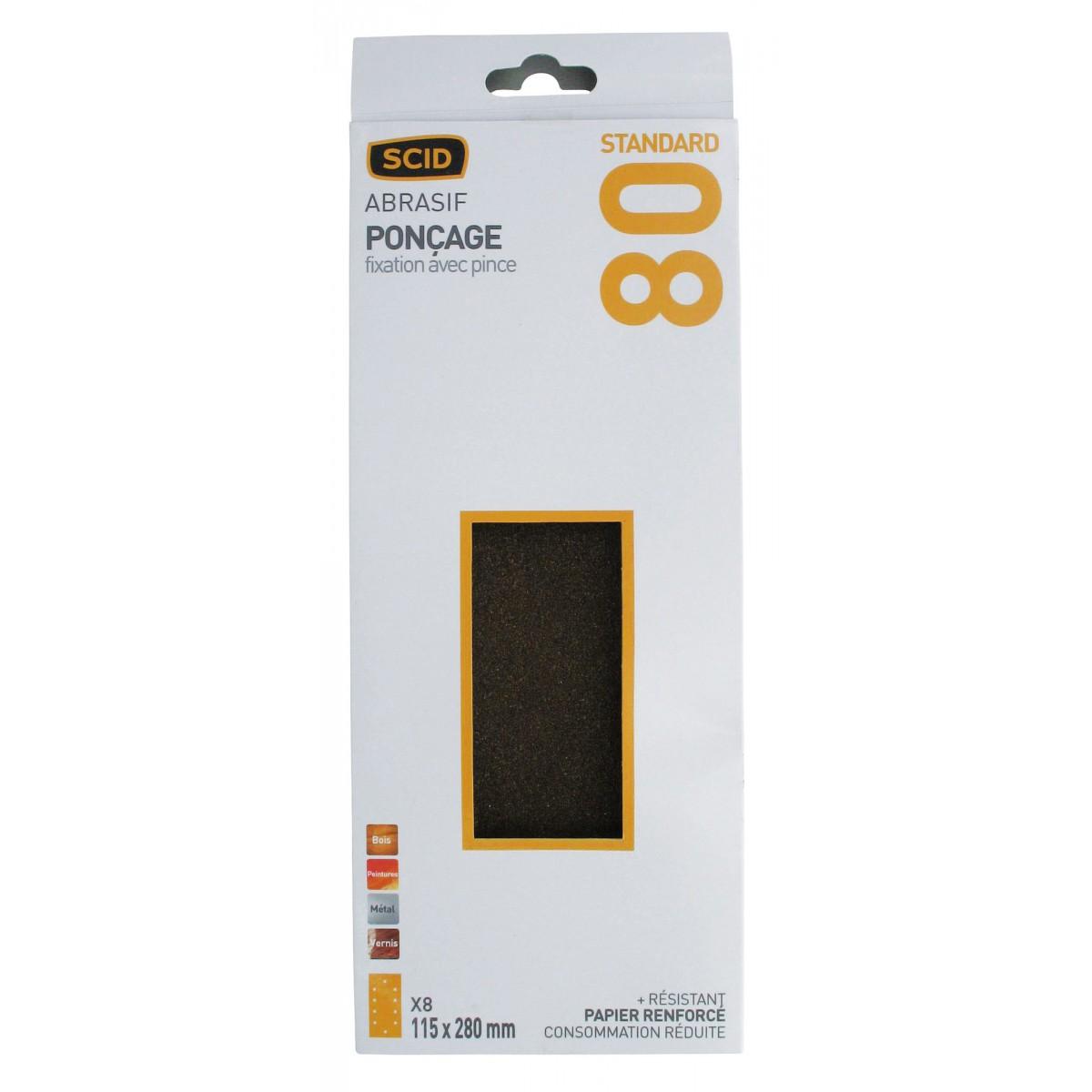 Patin fixation avec pince SCID - 10 trous ovales - Grain 80 - Dimensions 115 x 280 mm - Vendu par 8