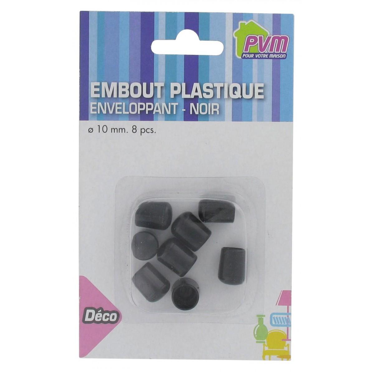 Embout enveloppant plastique noir PVM - Diamètre 10 mm - Vendu par 8