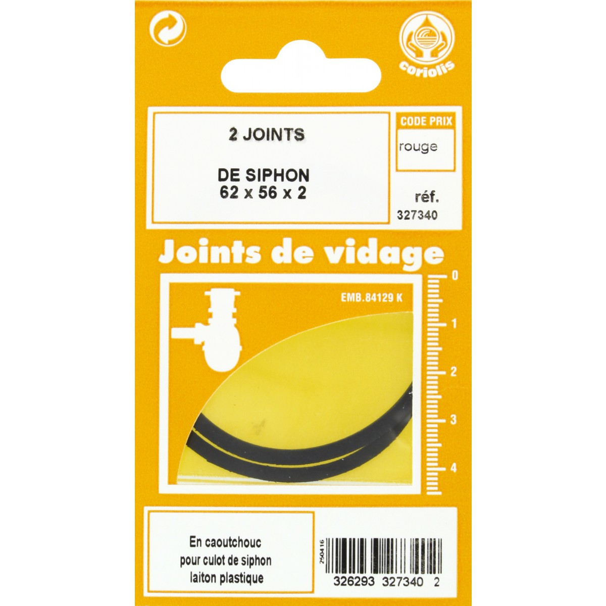 Joint de culot de siphon Gripp - Diamètre extérieur 62 mm - Intérieur 56 mm - Vendu par 2