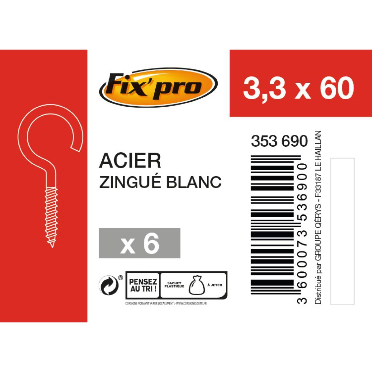 Crochet à visser acier zingué - 3,3x60 - 6pces - Fixpro