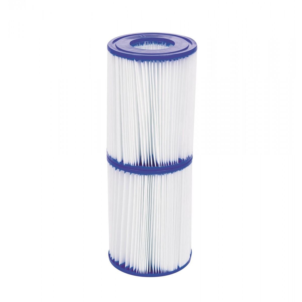 Cartouche de filtration piscine Type (II) Bestway - Diamètre 10,6 cm - Hauteur 13,6 cm - Vendu par 2