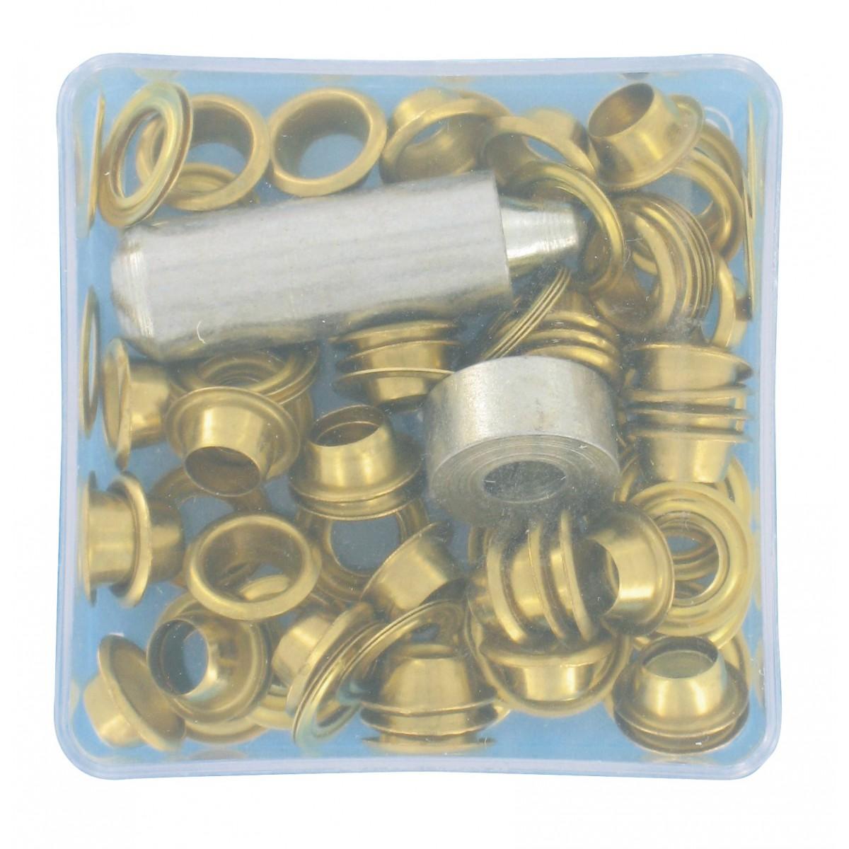 Œillets de bâche laiton Chapuis - Avec outil de pose - Diamètre 6 mm - Vendu par 50