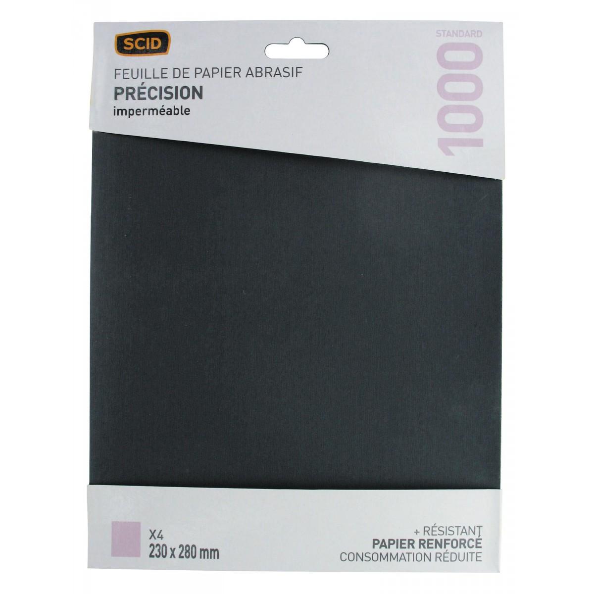 Papier imperméable 230 x 280 mm SCID - Grain 1000 - Vendu par 4