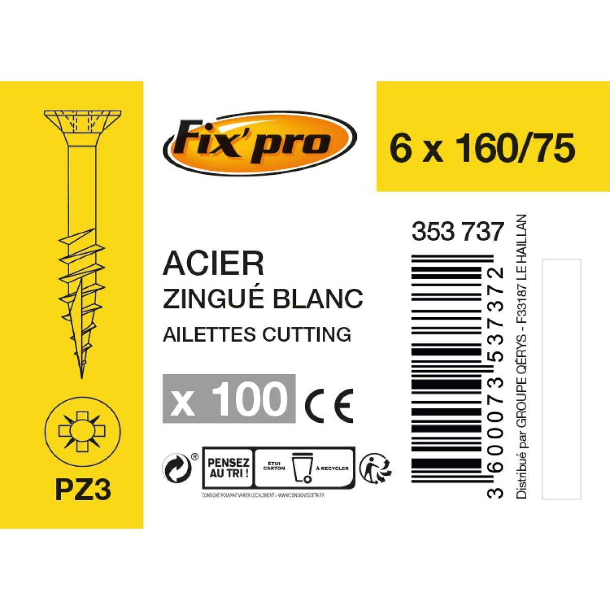 Vis à bois tête fraisée PZ - 6x160/75 - 100pces - Fixpro