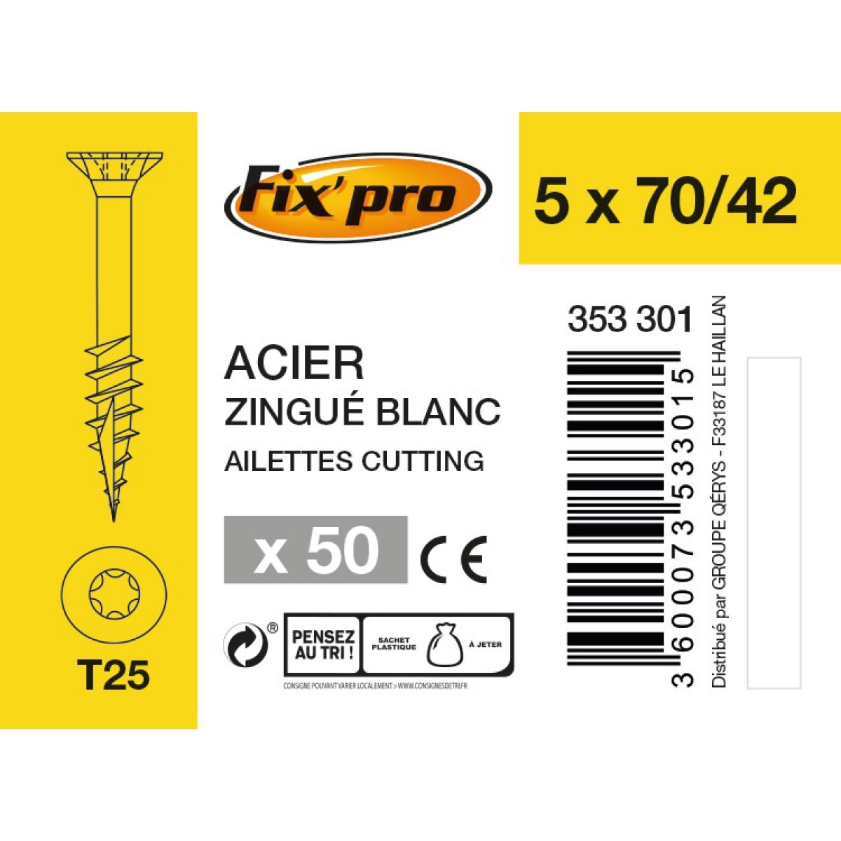 Vis à bois tête fraisée TX - 5x70/42 - 50pces - Fixpro