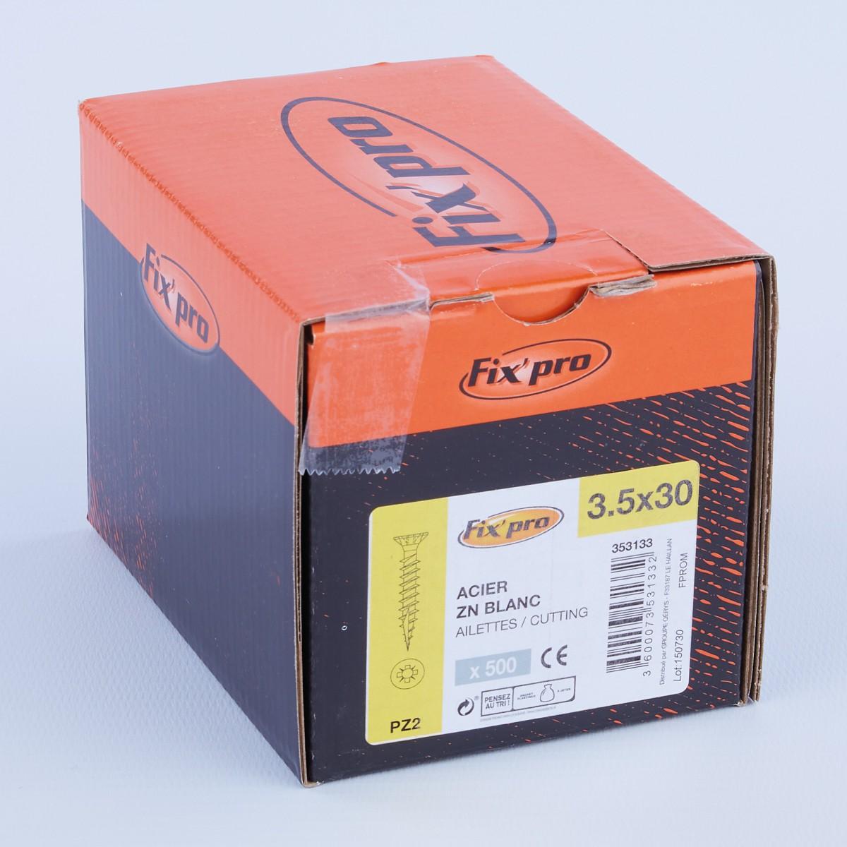 Vis à bois tête fraisée PZ - 3,5x30 - 500pces - Fixpro