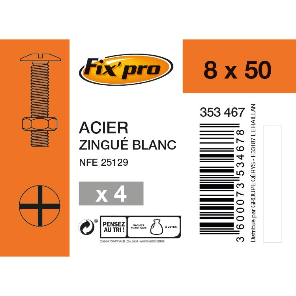 Boulon poêlier acier zingué - 8x50 - 4pces - Fixpro