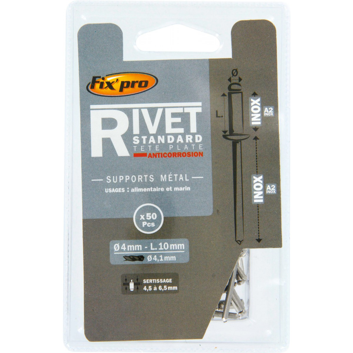Rivet aveugle tête plate inox / inox A2 Fix'Pro - Longueur 10 mm - Diamètre 4 mm - Vendu par 50