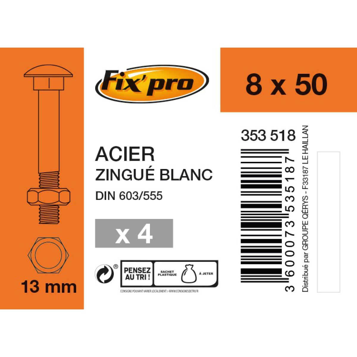 Boulon Japy tête ronde collet carré acier zingué - 8x50/22 - 4pces - Fixpro