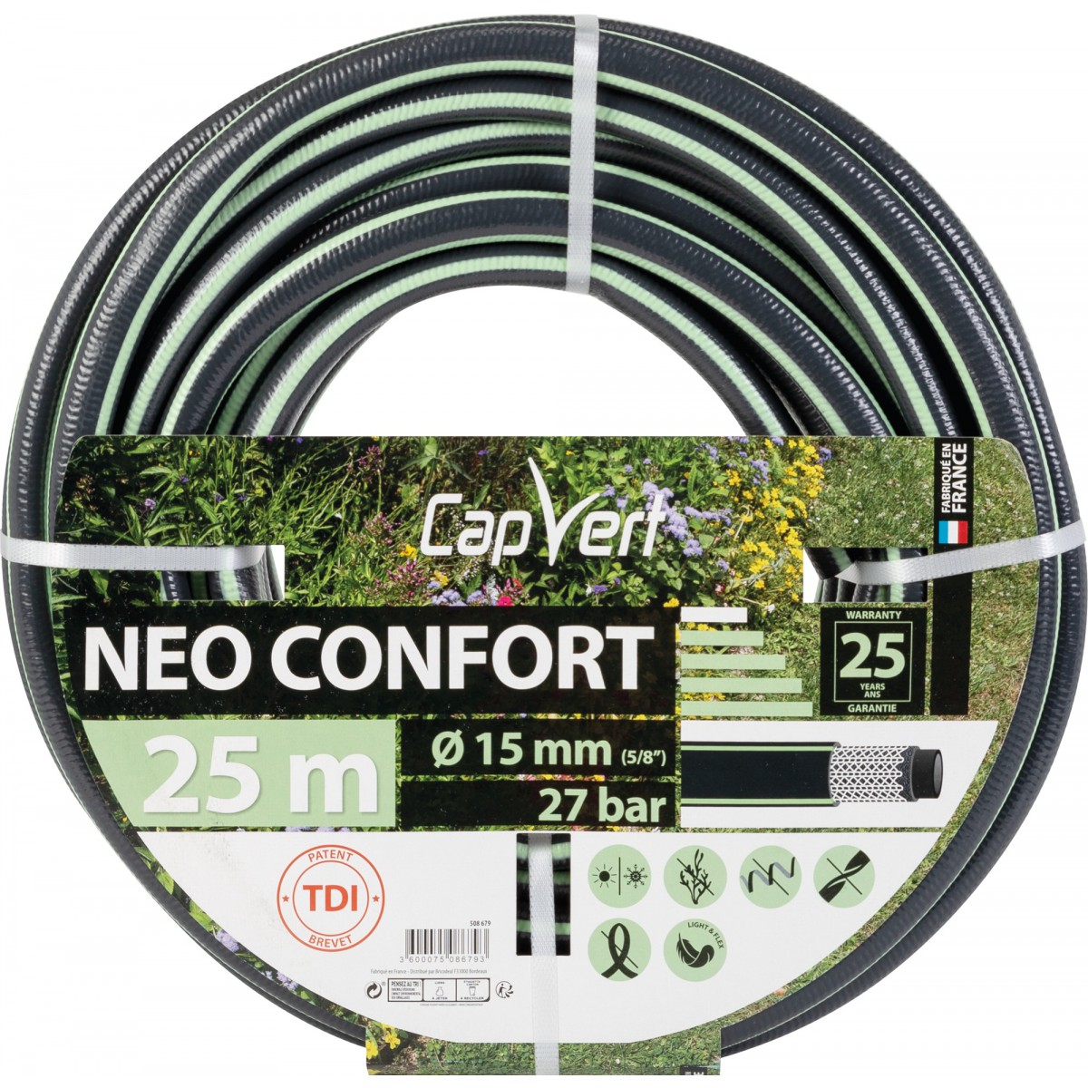 Tuyau d'arrosage Néo Confort Cap Vert - Diamètre 15 mm - Longueur 25 m