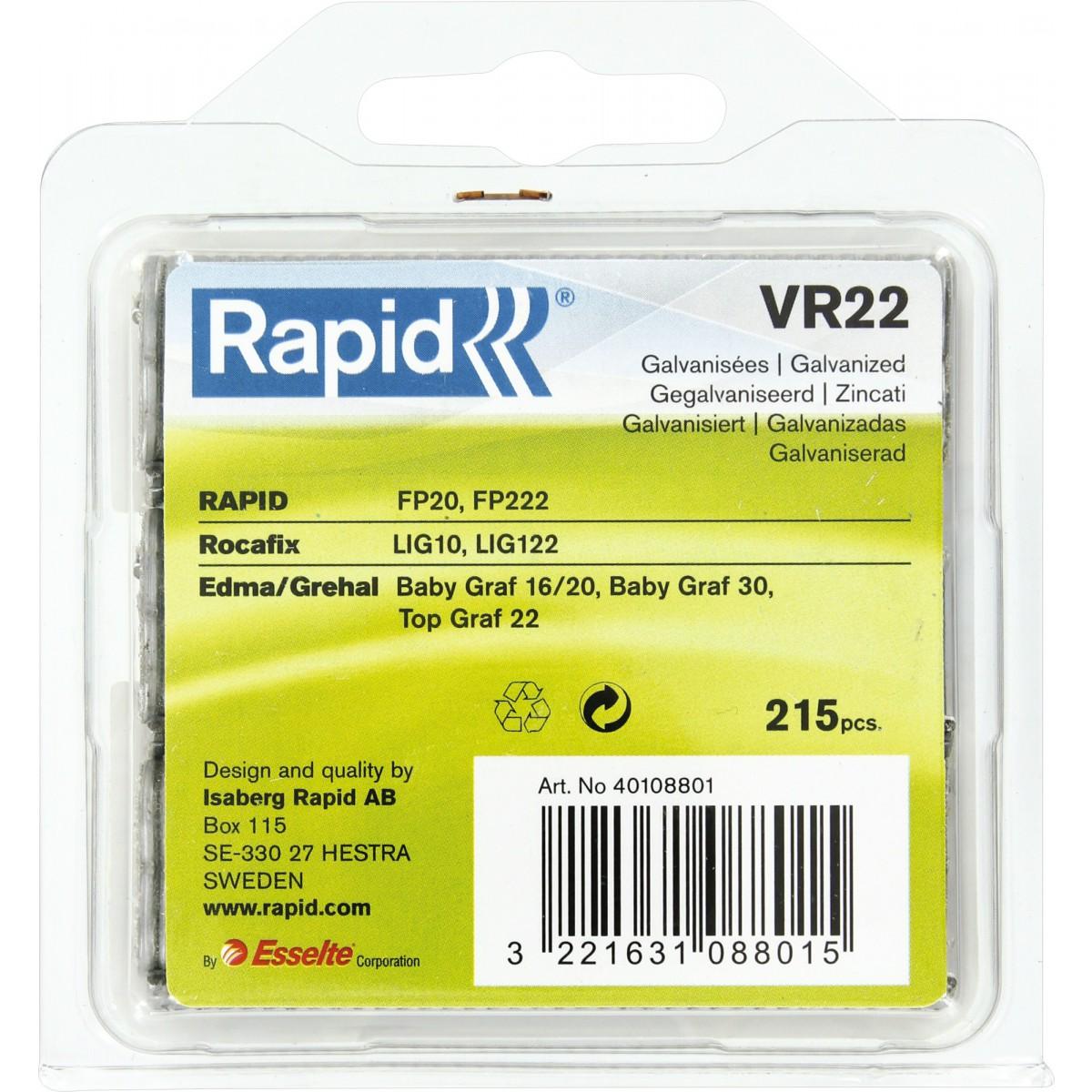 Agrafe à grillage VR22 Rapid Agraf - Galvanisées - 215 agrafes