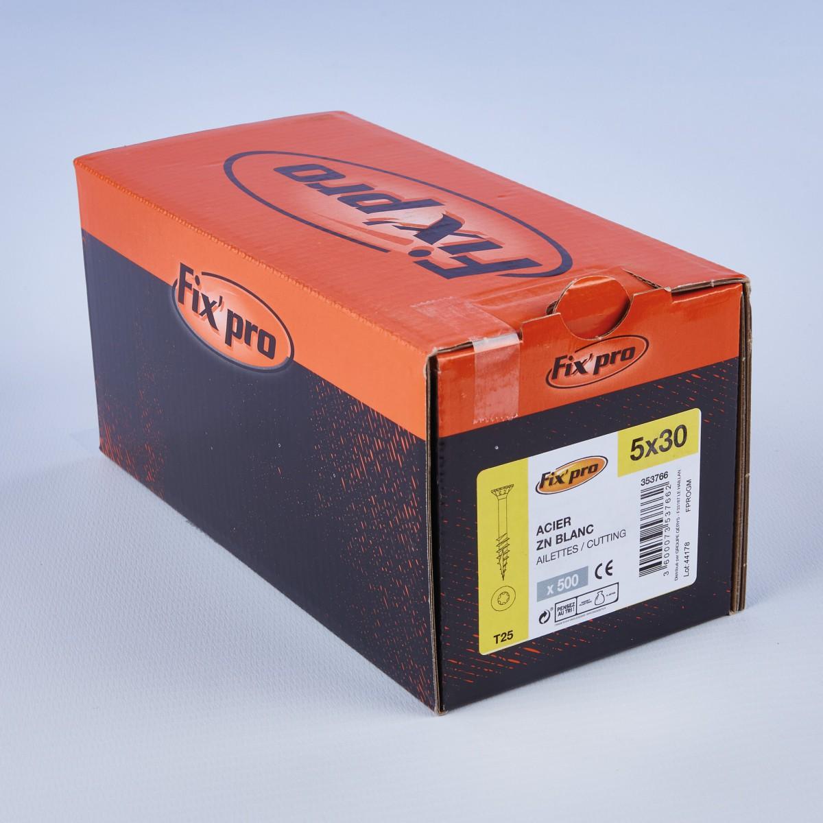 Vis à bois tête fraisée TX - 5x30 - 500pces - Fixpro