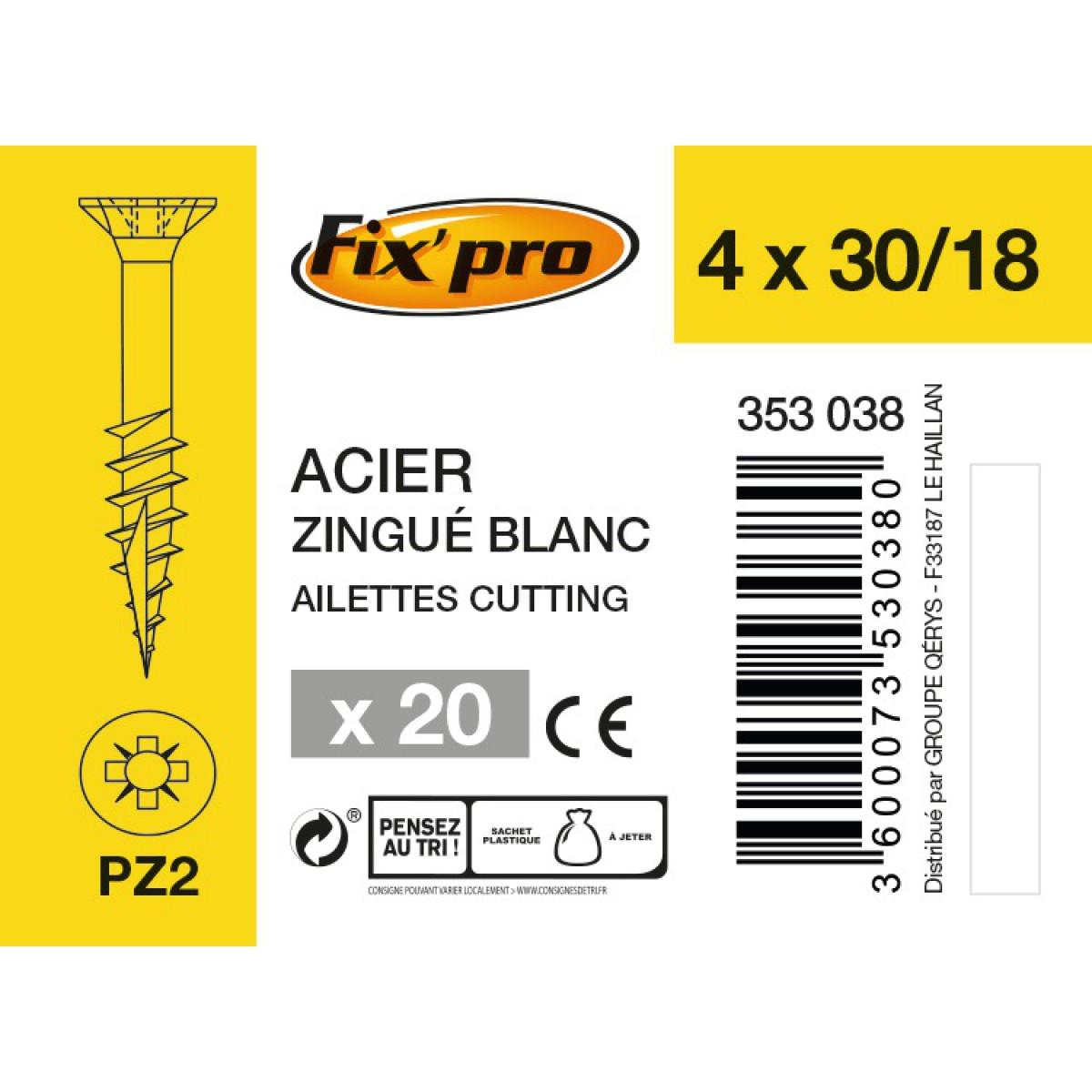 Vis à bois tête fraisée PZ - 4x30/18 - 20pces - Fixpro