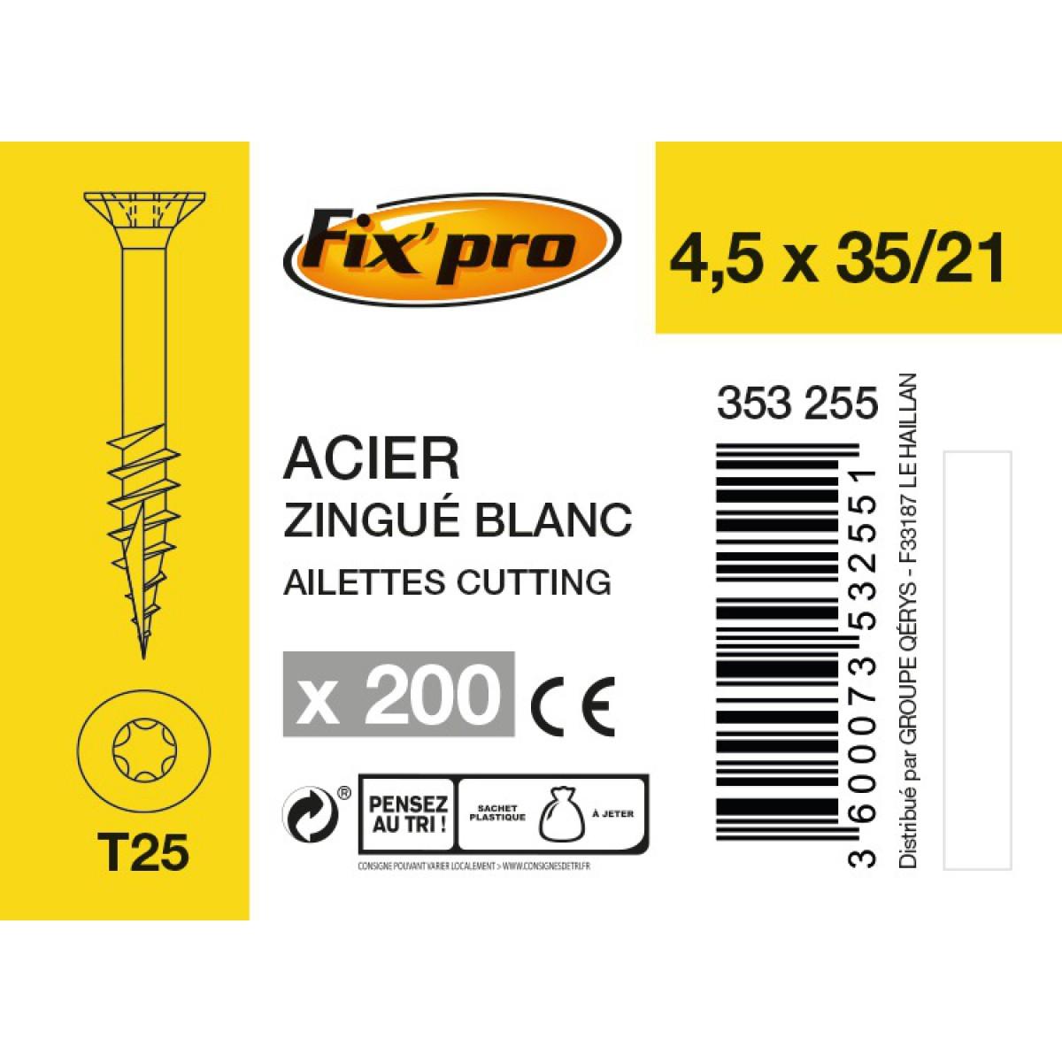 Vis à bois tête fraisée TX - 4,5x35/21 - 200pces - Fixpro