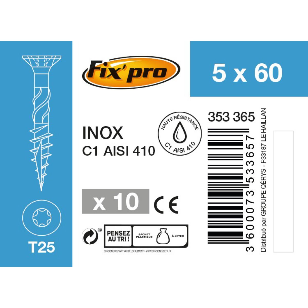 Vis terrasse inox C1 - 5x60 - 10pces - Fixpro
