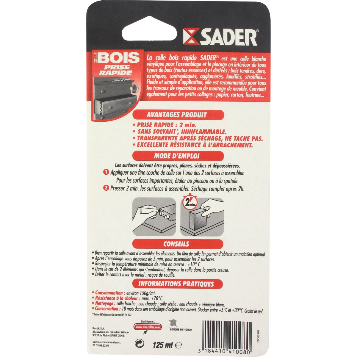 Colle à bois prise rapide Sader - Prise rapide 5 minutes - Tube 125 ml