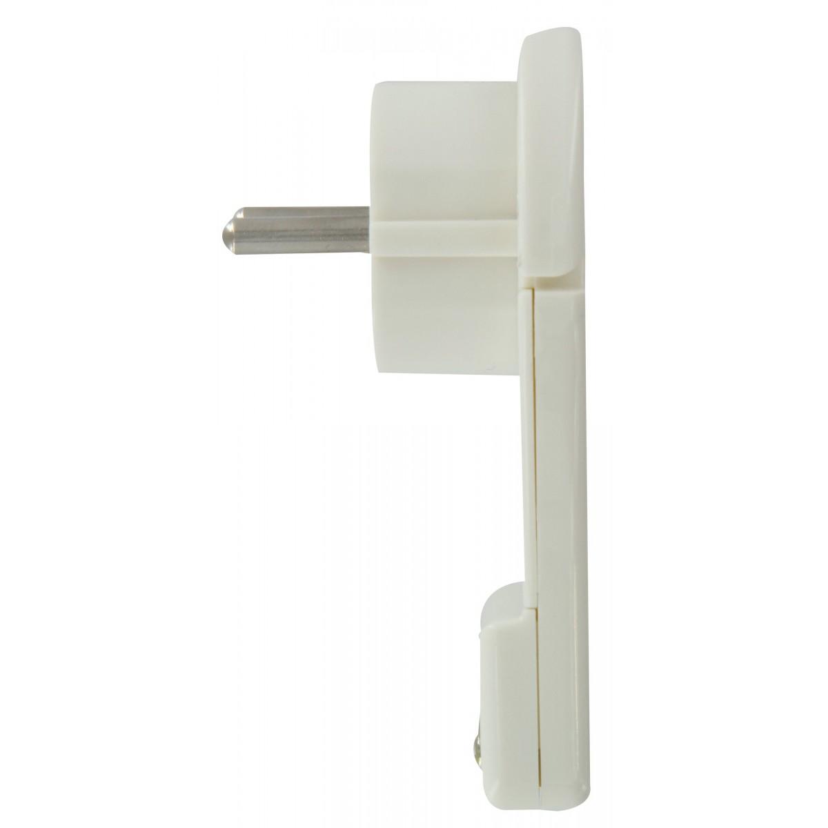 Fiche plastique extra plate 2P+T Dhome - Mâle - 16 A - Blanc
