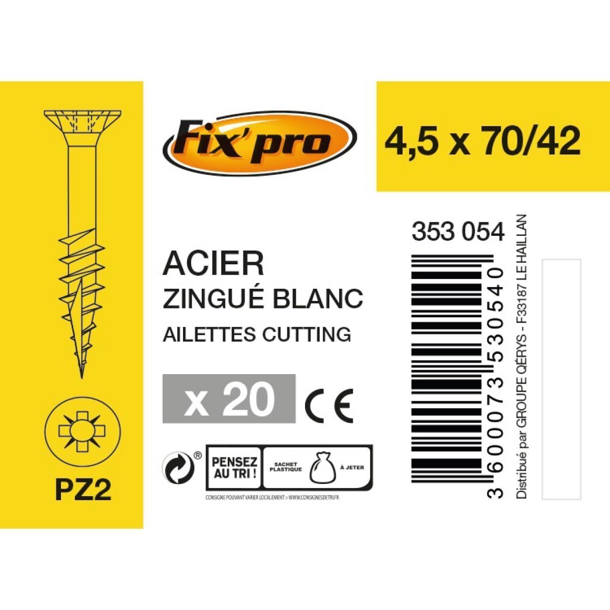 Vis à bois tête fraisée PZ - 4,5x70/42 - 20pces - Fixpro