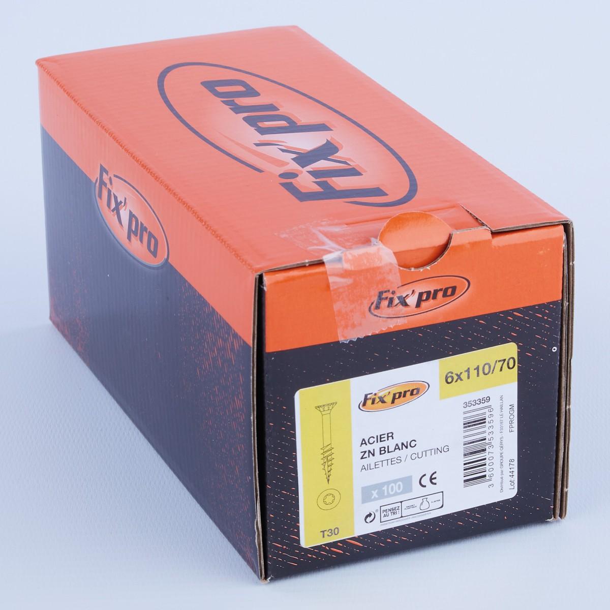Vis à bois tête fraisée TX - 6x110/70 - 100pces - Fixpro